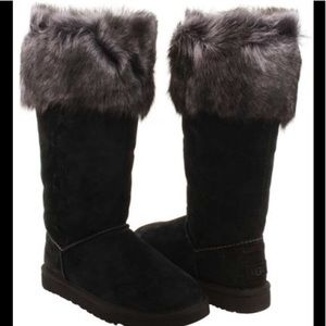 UGG Rosana Suede Black Toscana Tall Fur Boots